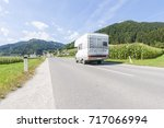 motorhome on the road near... | Shutterstock . vector #717066994