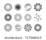 Spiral and swirl motion twisting circles design element set. Vector illustration.