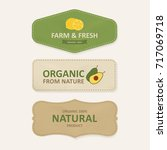 natural label and organic label ... | Shutterstock .eps vector #717069718