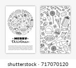 card templates with hand drawn... | Shutterstock .eps vector #717070120