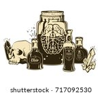 witchcrafting set of bottles... | Shutterstock .eps vector #717092530