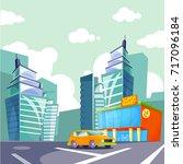cartoon vector city  urban... | Shutterstock .eps vector #717096184