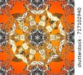 antique golden repeatable... | Shutterstock . vector #717102940