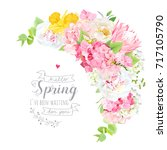 blooming spring bouquet floral... | Shutterstock .eps vector #717105790