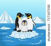 cartoon happy penguin family... | Shutterstock .eps vector #717107530