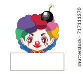 cute evil clown with a blank...   Shutterstock .eps vector #717111370