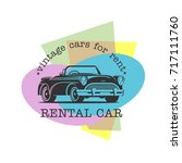 vintage car rental. vector... | Shutterstock .eps vector #717111760