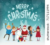 merry christmas characters  ... | Shutterstock .eps vector #717111994