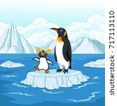 cartoon penguin playing on ice... | Shutterstock .eps vector #717113110