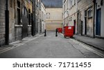 Inner City Dark Alleyway Background - stock photo