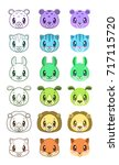 cute cartoon animal faces....