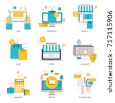 infographic flat line icons...   Shutterstock .eps vector #717115906