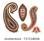 multicolor paisley ornament... | Shutterstock . vector #717118036