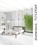 white bedroom minimal style... | Shutterstock . vector #717119269