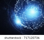 abstract global blue network... | Shutterstock . vector #717120736