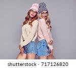 fashion. pretty sisters best... | Shutterstock . vector #717126820