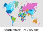 color world map. | Shutterstock .eps vector #717127489
