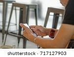 digital nomad concept. man... | Shutterstock . vector #717127903