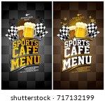 sports cafe menu cards set ... | Shutterstock .eps vector #717132199