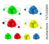 abstract molecules set atoms
