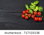 Ripe Red Cherry Tomatoes With...