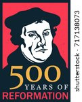 portrait of martin luther  1483 ... | Shutterstock .eps vector #717138073