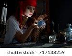 gypsy fortune teller wonders on ... | Shutterstock . vector #717138259