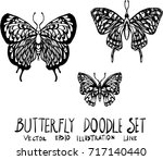 set of butterfly doodle... | Shutterstock .eps vector #717140440