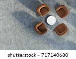 top view of an office waiting... | Shutterstock . vector #717140680