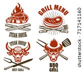set of steak house emblem... | Shutterstock .eps vector #717141160