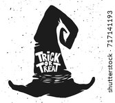 trick or treat. witch hat with... | Shutterstock .eps vector #717141193