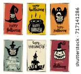 set of halloween banner... | Shutterstock .eps vector #717141286