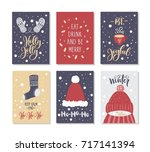 christmas gift cards or tags... | Shutterstock .eps vector #717141394