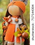 Handmade Doll Girl In Orange...