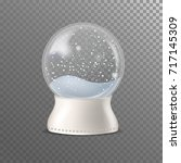 realistic snow globe on... | Shutterstock .eps vector #717145309