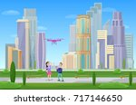modern cityscape with... | Shutterstock . vector #717146650