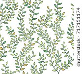 seamless pattern with leafs | Shutterstock .eps vector #717151174