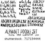 set of alphabet font doodle... | Shutterstock .eps vector #717154444
