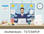 happy businessman with many... | Shutterstock . vector #717156919