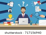 happy businessman with many... | Shutterstock . vector #717156940