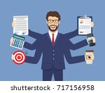 happy businessman with many... | Shutterstock . vector #717156958