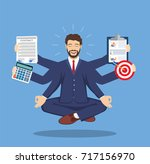 businessman with multitasking... | Shutterstock . vector #717156970