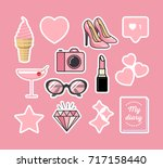 sticker pack in pink style | Shutterstock .eps vector #717158440