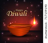 diwali. indian holiday of... | Shutterstock .eps vector #717159190