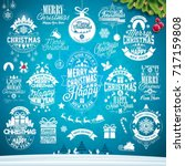 christmas decoration collection ... | Shutterstock .eps vector #717159808