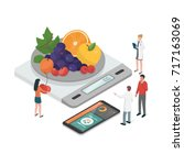 nutritionists planning a diet... | Shutterstock .eps vector #717163069