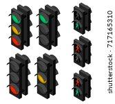 traffic light in isometric view.... | Shutterstock .eps vector #717165310