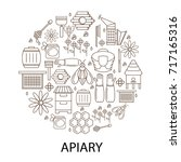 apiary linear circle icon.... | Shutterstock .eps vector #717165316