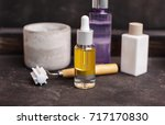 spa cosmetic set with oil and... | Shutterstock . vector #717170830