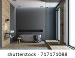black and wooden bathroom... | Shutterstock . vector #717171088